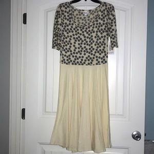 LuLaRoe Yellow Polkadot Nicole dress -New w/ tags!